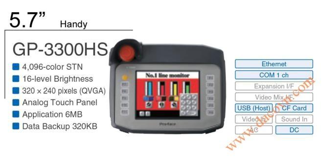 Màn Hình Proface cầm tay, HMI cảm ứng GP-3300HS, 5.7 Inch, mầu