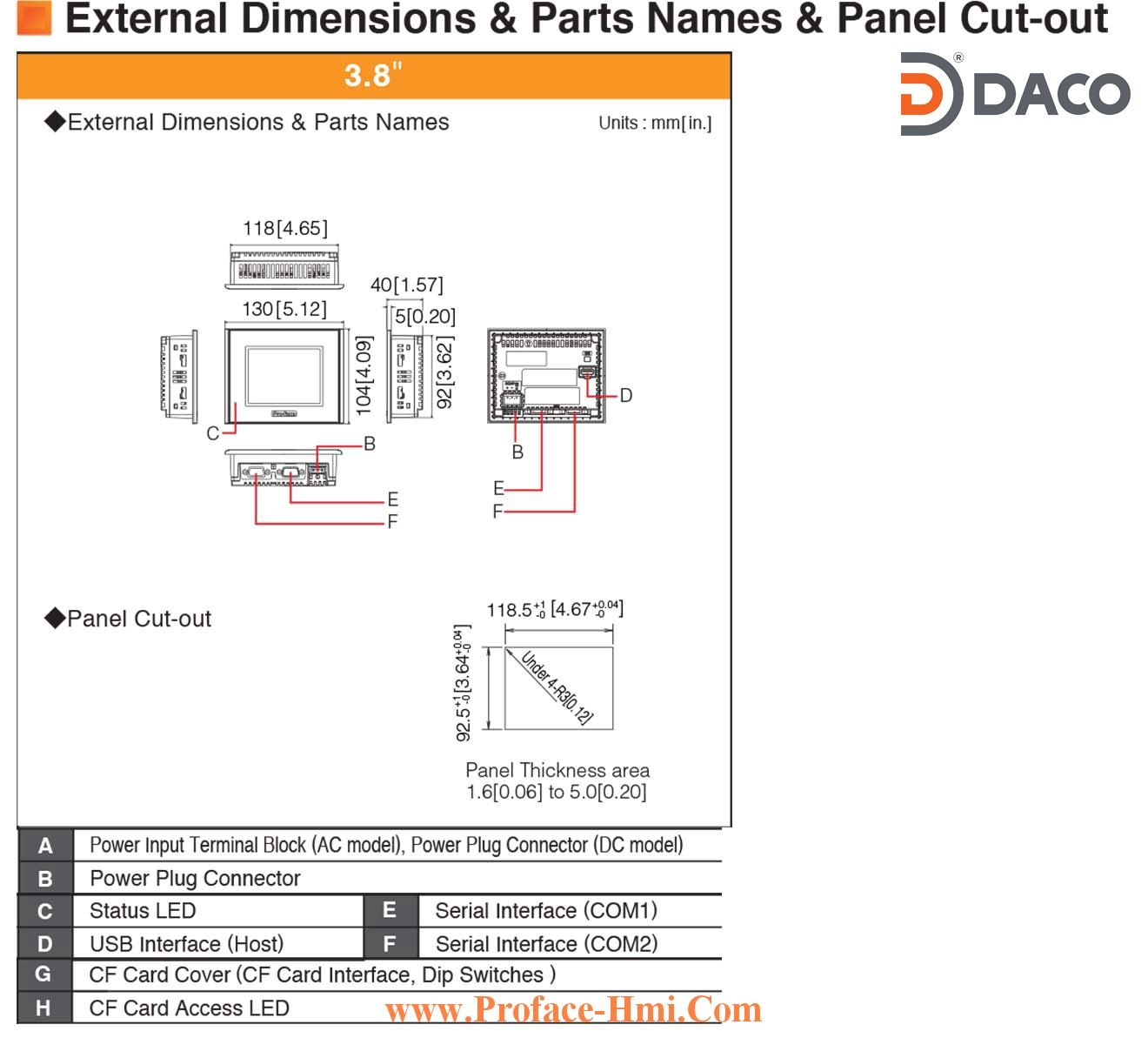 Man hinh cam ung hmi Proface ST3201-Dimensions