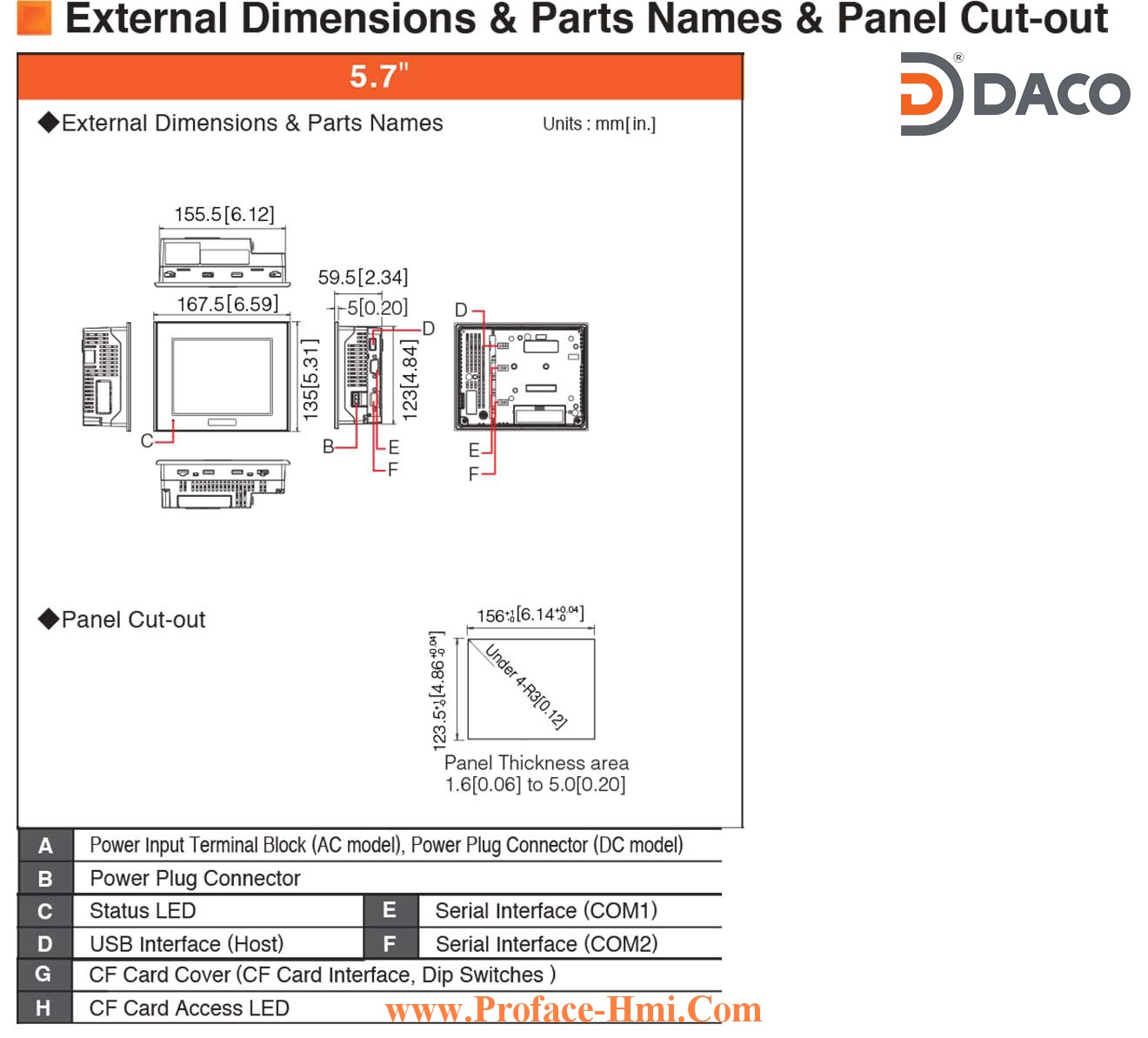 Man hinh cam ung hmi Proface ST3301-Dimensions