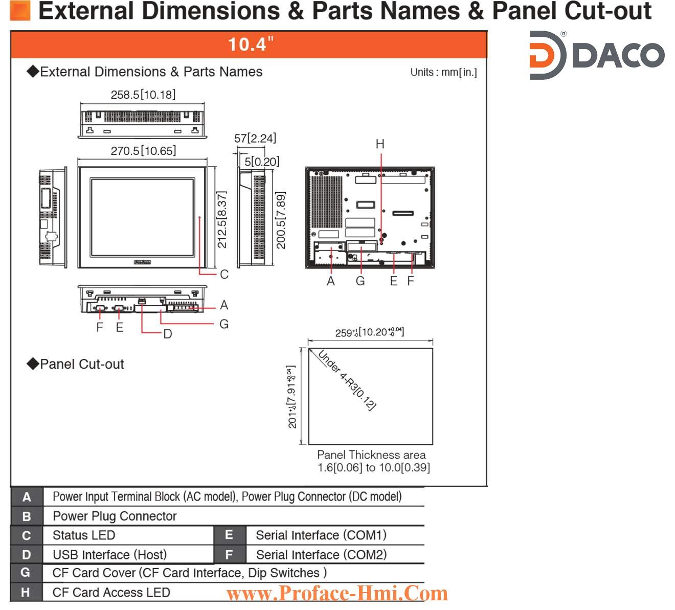 Man hinh cam ung hmi Proface ST3501-Dimensions