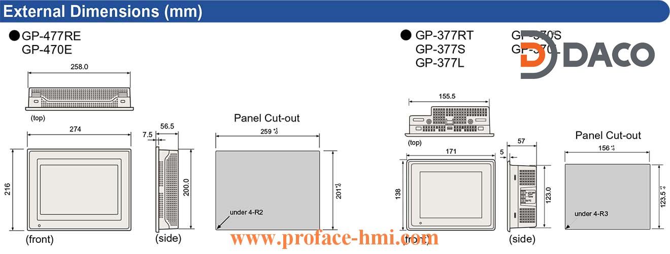 GP477-GP470-GP377-GP370 Dimension
