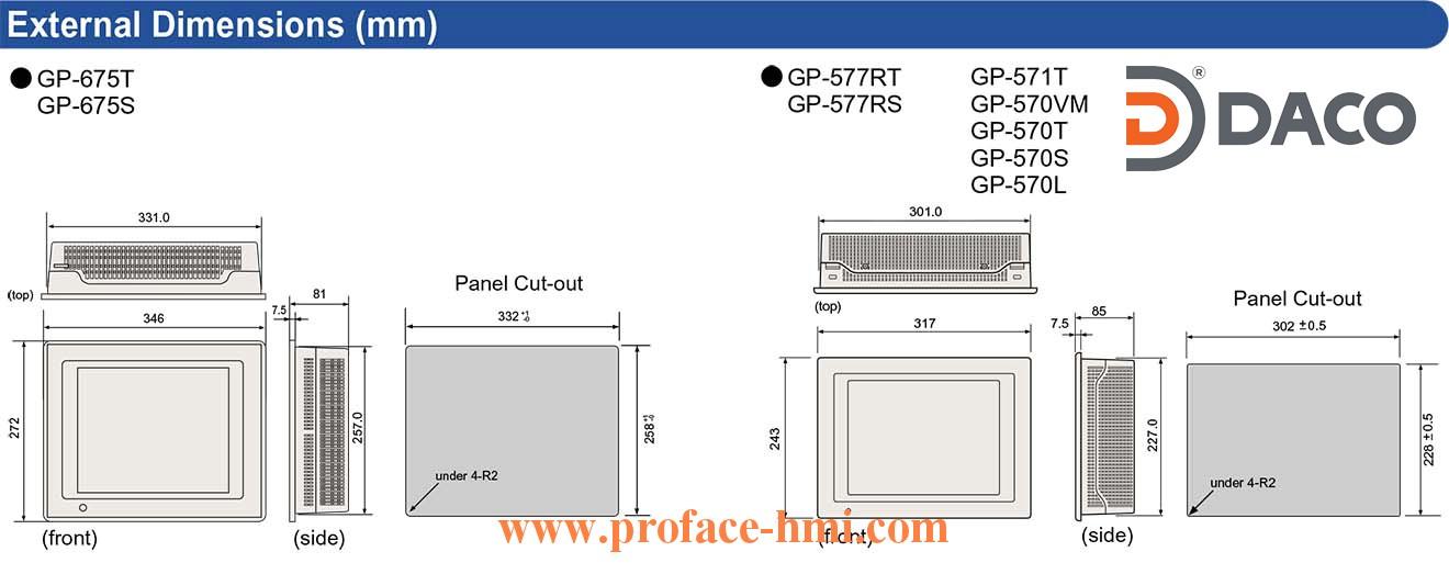 GP675-GP577-GP571-GP570 Dimension Kich thuoc